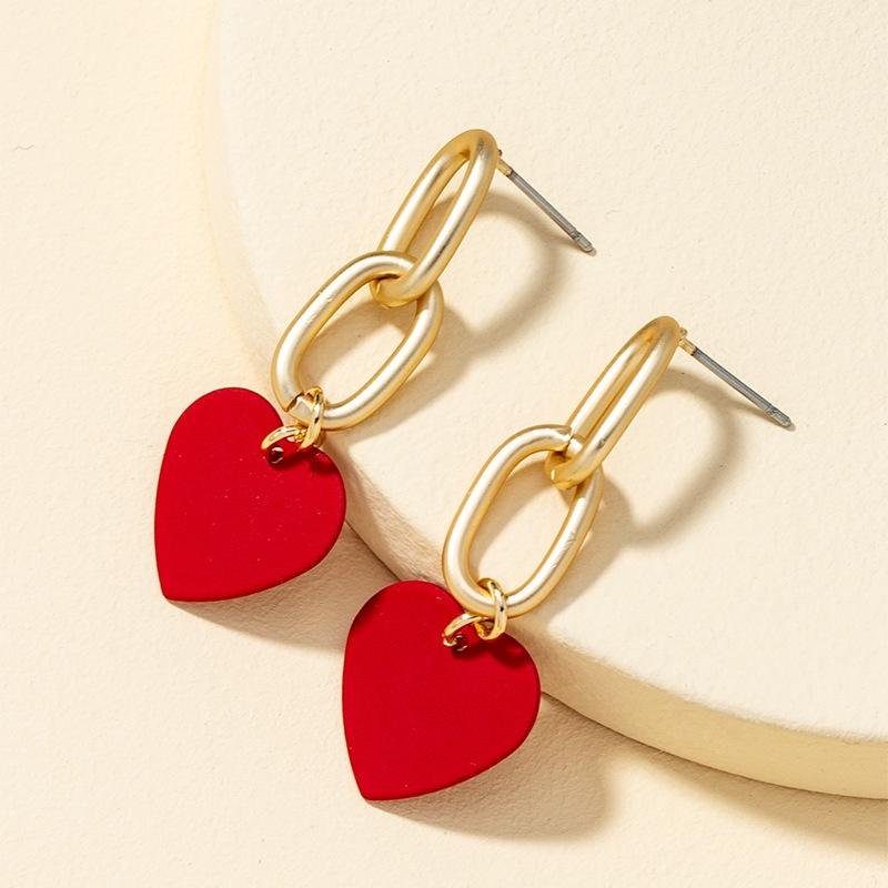 retro red heart-shaped earrings NHQJ316721