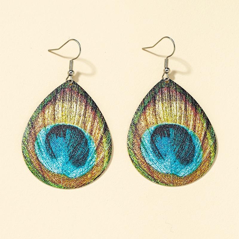 retro metal printing fashion earrings NHQJ316726