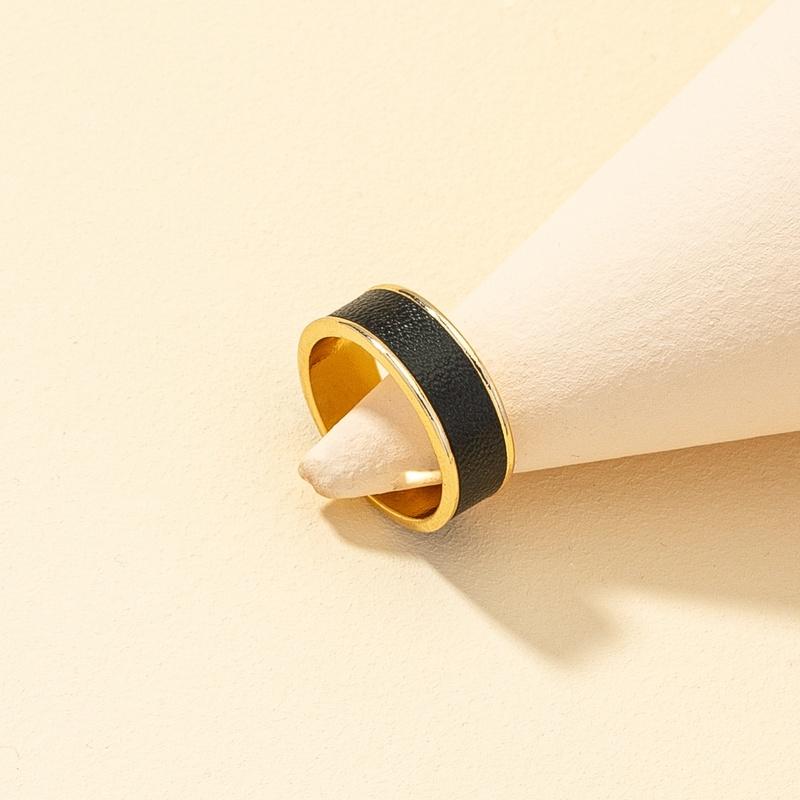 retro simple black leather pattern ring NHQJ316728