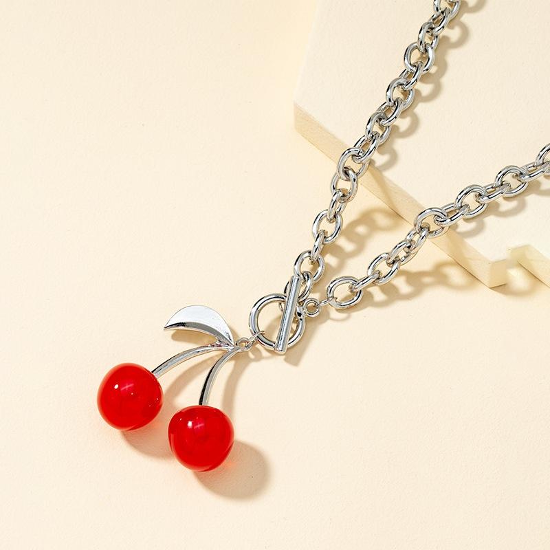 retro cherry necklace  NHQJ316733