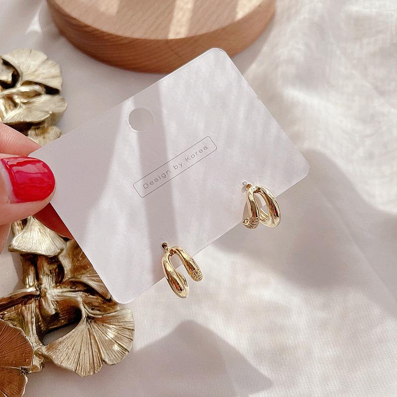 Korean geometric golden earrings NHHI316738