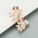 fashion pearl petal crystal earrings NHLN316747