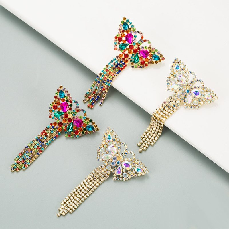 butterfly-shaped colorful rhinestones earrings NHLN316750
