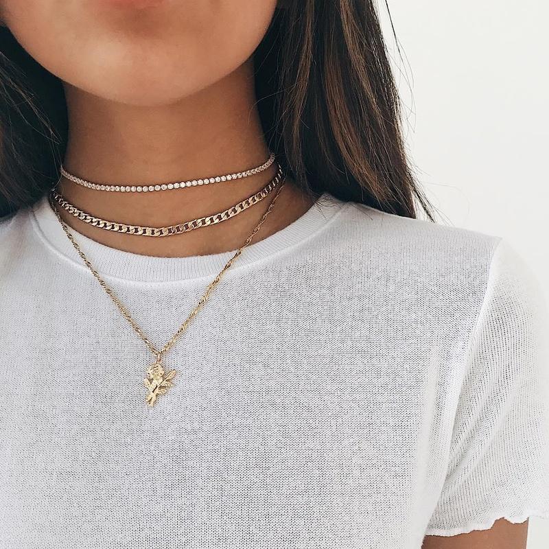 fashion diamond rose pendant necklace NHAJ316600