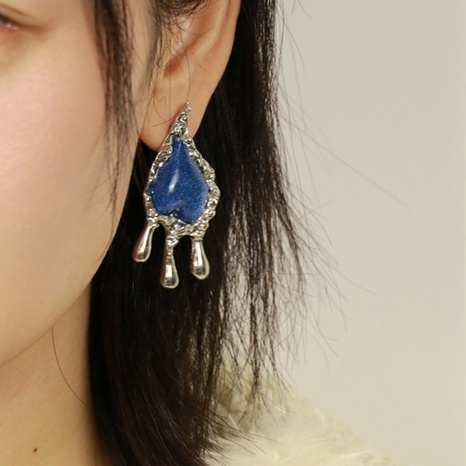 simple blue gemstone fold earrings NHYQ316761's discount tags