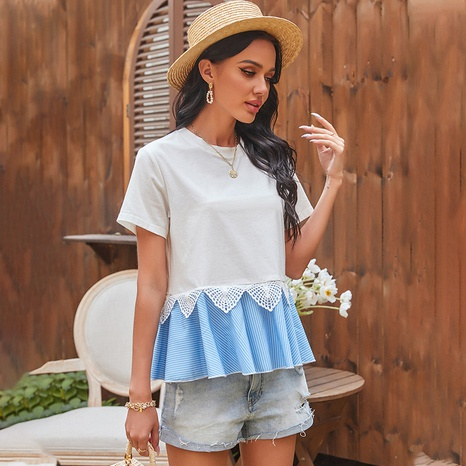 spring new stitching lace loose top NHDF316777's discount tags