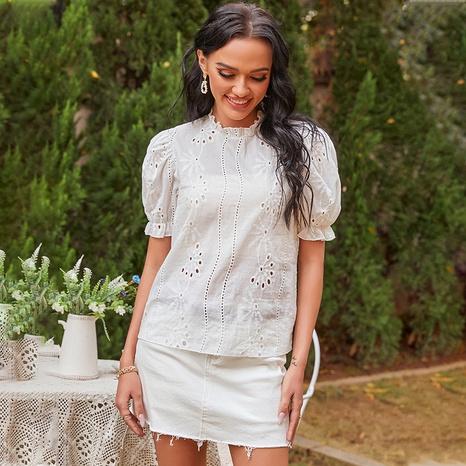 New Fashion einfarbige Laterne Ärmel Rundhals lose Hemd NHDF316779's discount tags