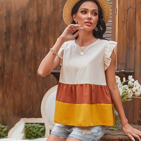 spring new three-color stitching round neck top NHDF316780's discount tags