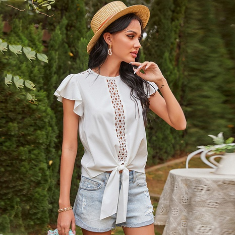 spring new solid color round neck short-sleeved top NHDF316781's discount tags