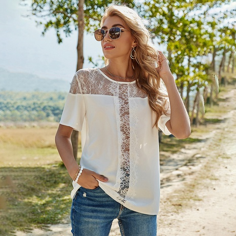 spring new lace stitching casual round neck top NHDF316793's discount tags