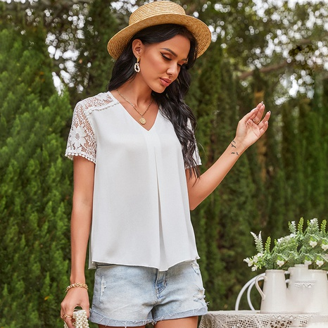 spring new stitching lace v-neck top NHDF316796's discount tags