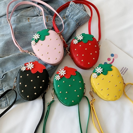Korean children's cute strawberry mini messenger bag NHAV316801's discount tags