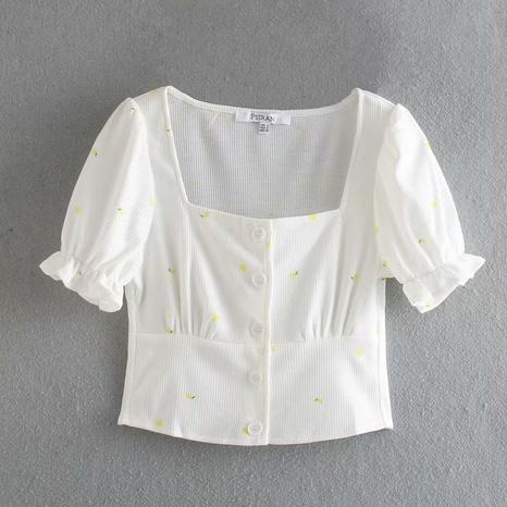 fashion casual embroidery thread flower pattern puff sleeve shirt NHAM316872's discount tags