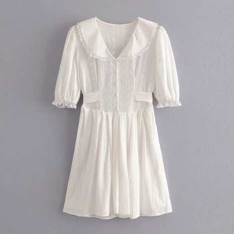 simple fashion sleeve embroidery lace dress NHAM316874's discount tags