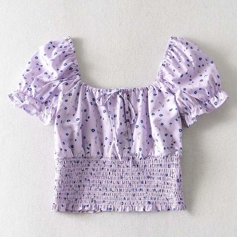 Fashion Short Puff Sleeve Vierkanthals Taille Plissee Crop Top NHAM316879's discount tags