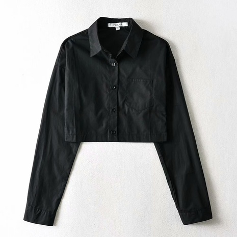 simple short imitation satin black lapel long sleeve shirt NHAM316880's discount tags