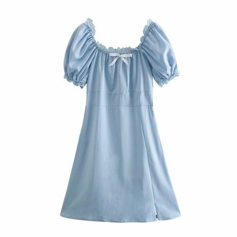 simple lace waist blue dress NHAM316883's discount tags