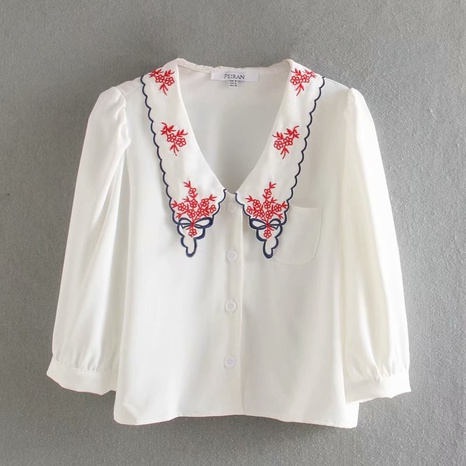simple fashion embroidery retro five-point puff sleeve shirt NHAM316884's discount tags