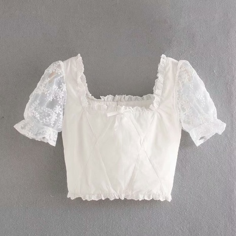 fashion embroidery sleeve white short retro top NHAM316885's discount tags