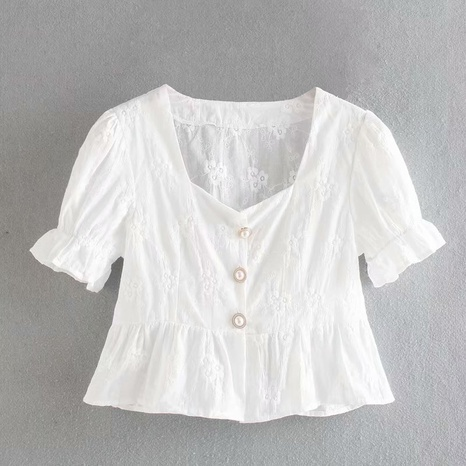 fashion embroidered ruffled puff sleeve square shirt NHAM316886's discount tags