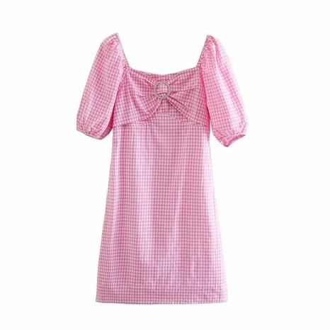 Neues Retro Puff Sleeve Square Collar Taille Kariertes Kleid NHAM316890's discount tags