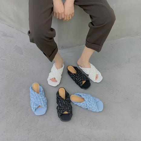 nouvelles chaussures de bouche de poisson à la mode tissée NHHU316962's discount tags