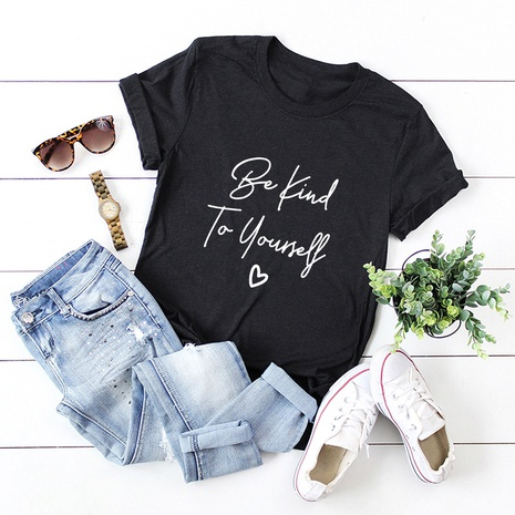 letters printed cotton short-sleeved T-shirt NHSN316997's discount tags