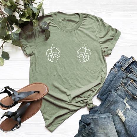 leaf print short sleeve cotton T-shirt NHSN317005's discount tags