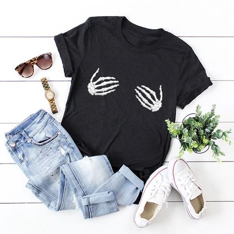 funny skull hand short-sleeved T-shirt NHSN317007's discount tags
