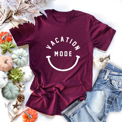 cute smiley face print short sleeve T-shirt NHSN317009's discount tags