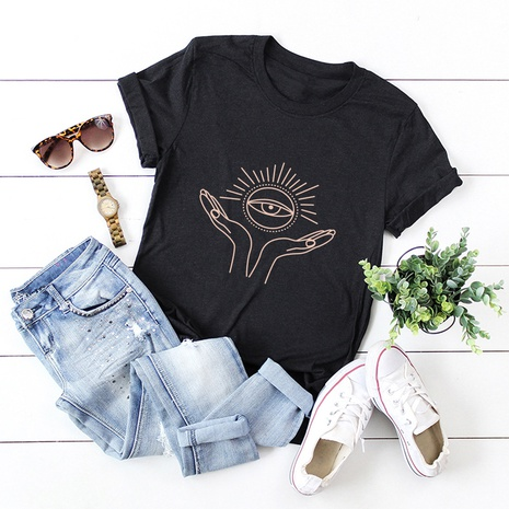letters printed cotton short-sleeved T-shirt NHSN317014's discount tags