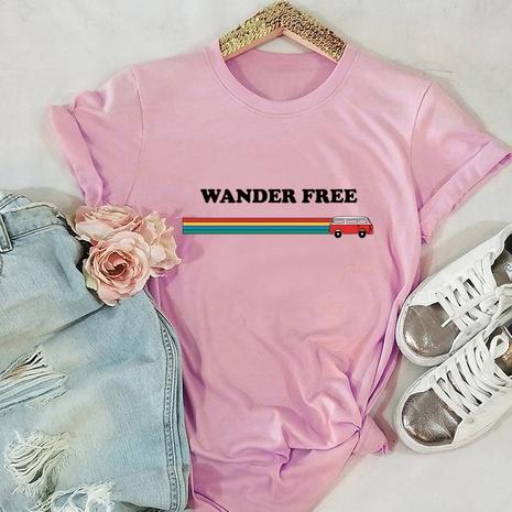 alphabet print short sleeve cotton T-shirt NHSN316994's discount tags