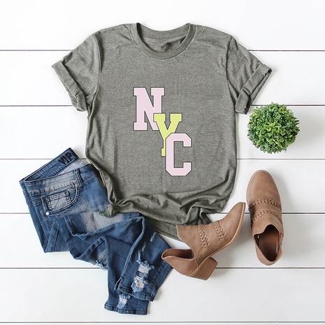 alphabet print short sleeve T-shirt NHSN316995's discount tags