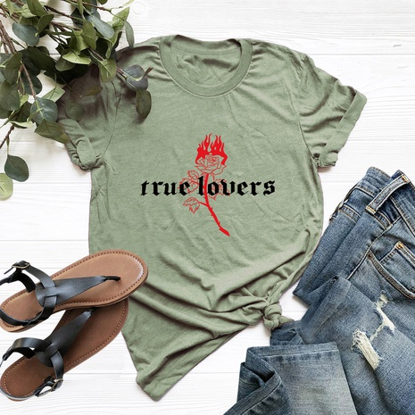 rose letter printing short sleeve T-shirt NHSN316996's discount tags