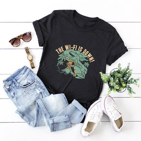 dinosaur print cotton short-sleeved T-shirt NHSN316998's discount tags
