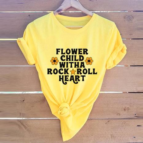alphabet print short sleeve cotton T-shirt NHSN316999's discount tags