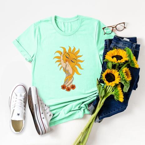 sun palm print short sleeve T-shirt NHSN317002's discount tags