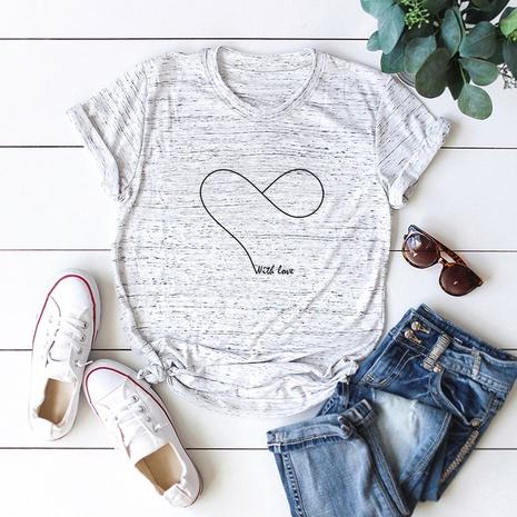 heart print short sleeve cotton T-shirt NHSN317003's discount tags