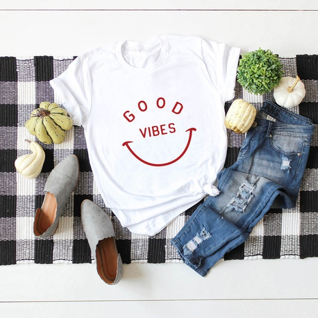 smiling face cotton short-sleeved T-shirt NHSN317008's discount tags