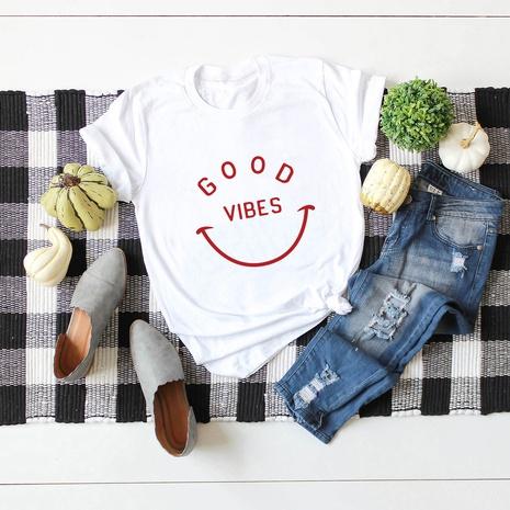 kurzärmeliges T-Shirt aus Baumwolle mit lächelndem Gesicht NHSN317008's discount tags