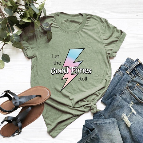 lightning cotton short-sleeved T-shirt NHSN317011's discount tags