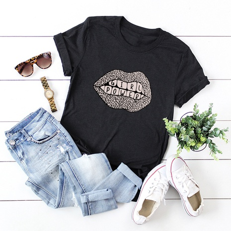 funny lips cotton short-sleeved T-shirt NHSN317013's discount tags
