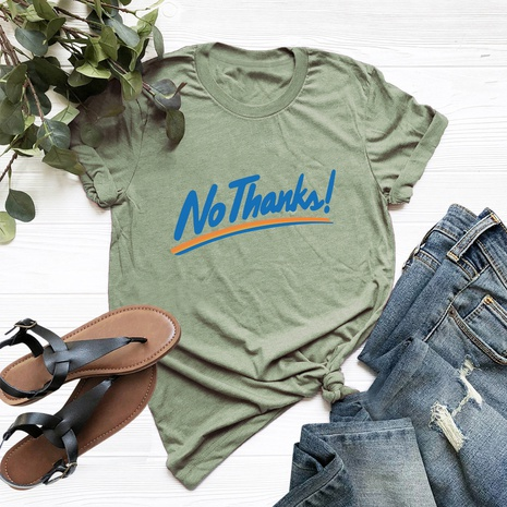 letters printed cotton short-sleeved T-shirt NHSN317016's discount tags