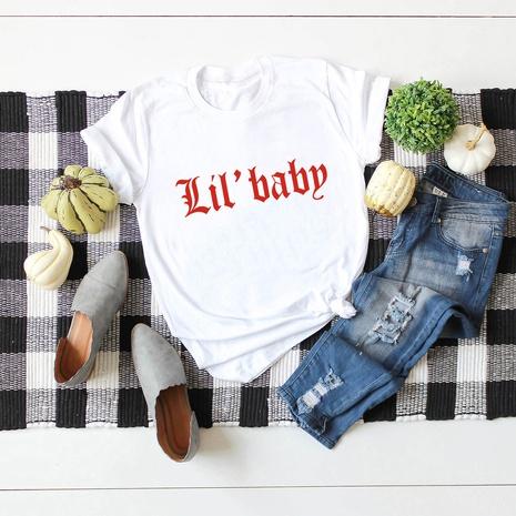 alphabet print short sleeve cotton T-shirt NHSN317018's discount tags