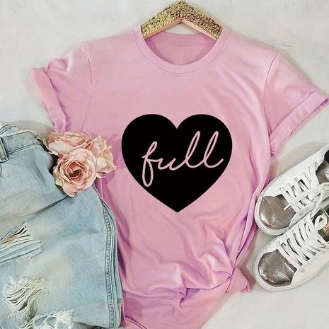 heart cotton short-sleeved T-shirt NHSN317021's discount tags