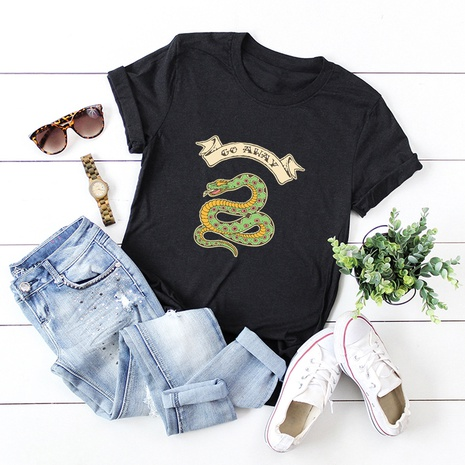 snake letters printed short sleeve T-shirt NHSN317026's discount tags