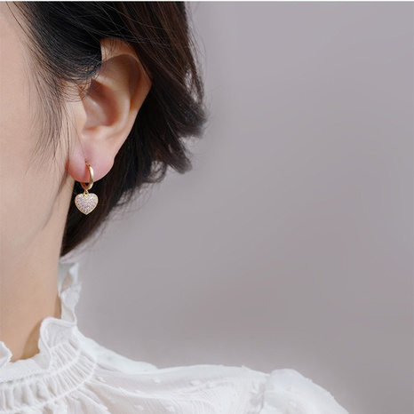 Korean pearl golden heart earrings NHQC317029's discount tags