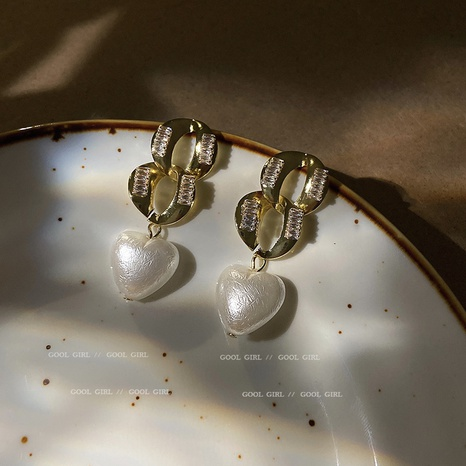925 Silver Needle Love Pearl Zircon Chain Earrings  NHQC317027's discount tags