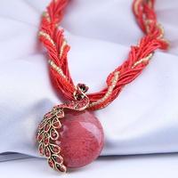 Retro Pfau Edelstein Perlenkette im böhmischen Stil NHSC317058