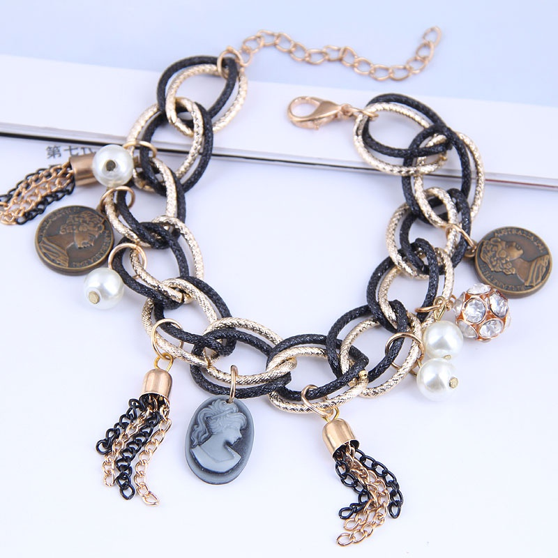 fashion simple beauty head tassel multilayer bracelet NHSC317052